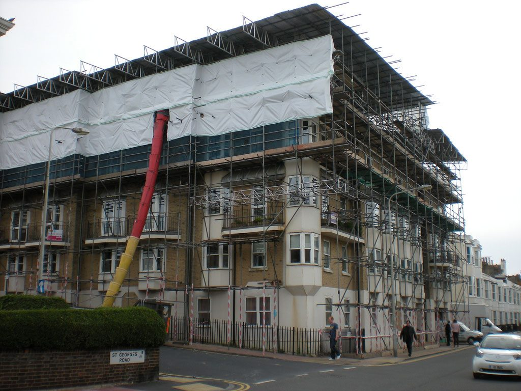 Full scaffold and temporary roof