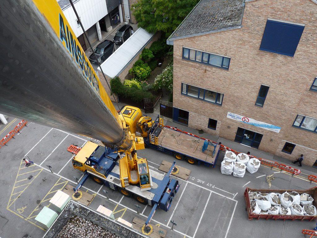 Seven storey crane lift